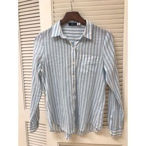 BDG Blue & White Striped ButtonUp Collared Blouse